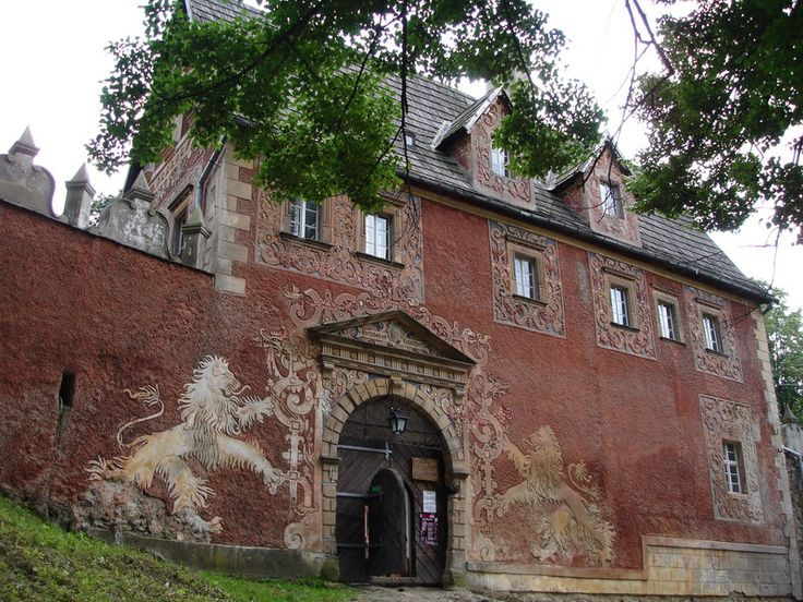 Beautiful, decorated entrance to Grodno Castle (Kynsburg) in Zagorze Slaskie, Poland;  built in the late 13th century by Duke Bolko I the Strict as a fortress near the border with the Kingdom of Bohemia;  photo by DocentX