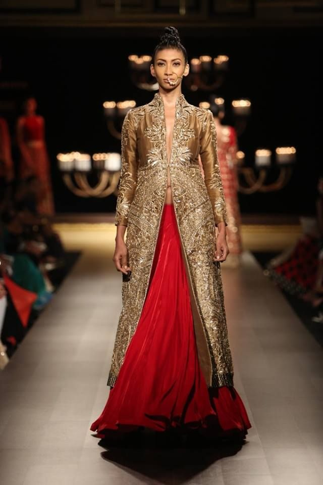 Manish Malhotra at India Couture Week 2014 - red lehenga skirt with long sleeved gold jacket blouse