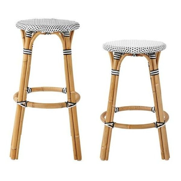 Serena & Lily Riviera Backless Stools Mashroom Counter Stool (310 CAD) ❤ liked on Polyvore featuring home, furniture, stools, barstools, bar stools, backless bar stools, backless counter height stools, rattan furniture, bistro bar stools and rattan stool