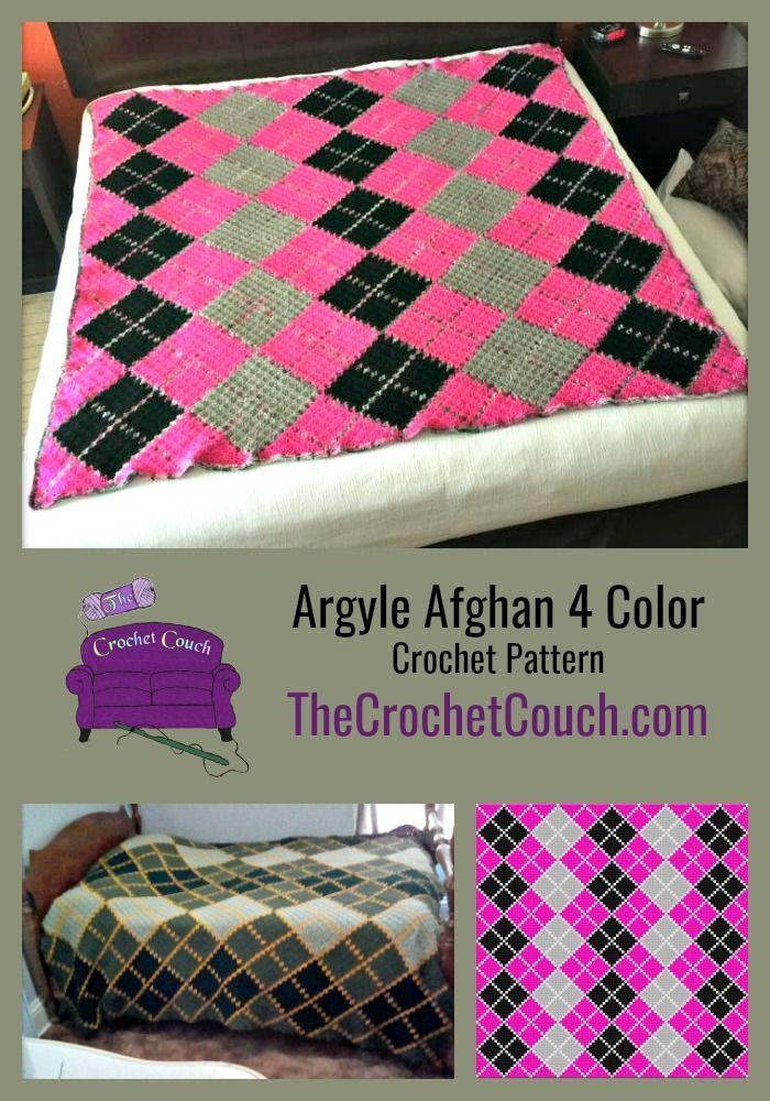 Argyle Afghan 4 Color Queen Size C2c Crochet Pattern Afghan
