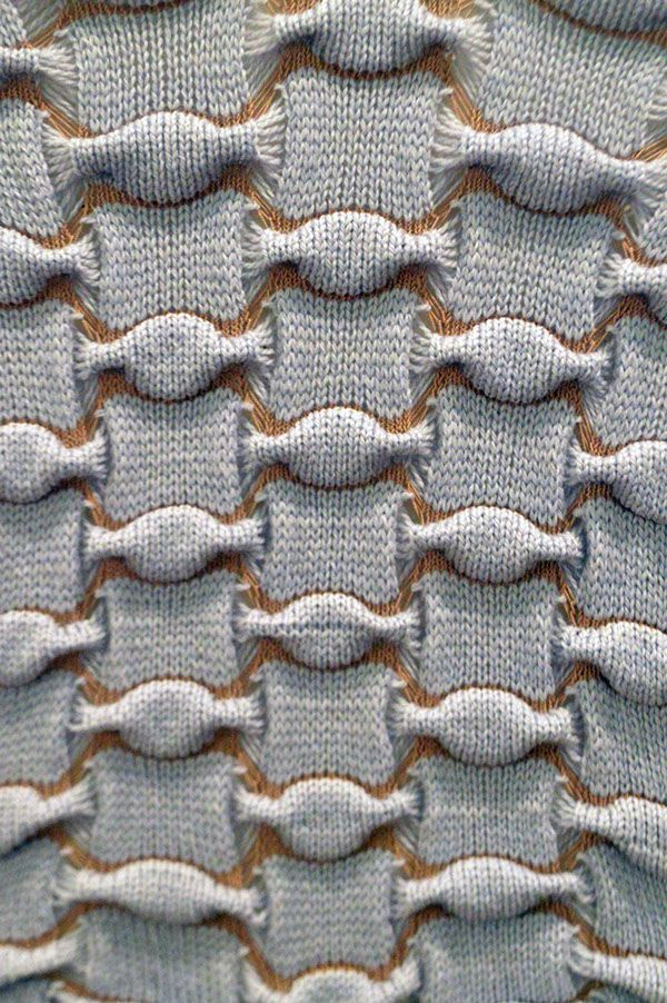 Knitted sample with two tone textures; knitwear design detail; textiles for fashion; experimental knitting // Kristen Haines