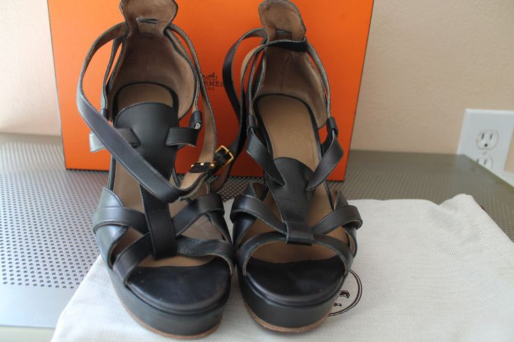 HERMES Open Toe Black Leather Wedge Sandals sz 38 TP01 ITALY #Hermes #PlatformsWedges #Party