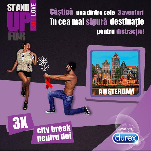 http://bit.ly/StandUpForSafeLove #SafeLove si premii pe masura! Cumpara produse Durex pana pe 31 decembrie, inscrie numarul bonului fiscal in aplicatie si fa-ti bagajele pentru fun la Amsterdam! Esti IN?