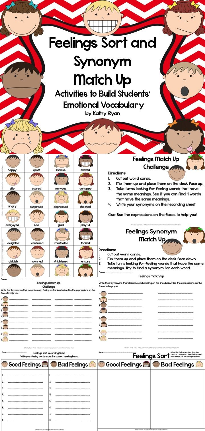 "Looking for a way to help your students improve their Feelings vocabulary? Try these two vocabulary games. The first, Feelings Sort, students must sort words into two categories, ""Good Feelings"" and ""Bad Feelings."" The second requires students to match up synonyms for feelings words. Both games come with recording sheets, and both are easily differentiated. You can have students play with 16 or 32 word cards, depending on their ability."
