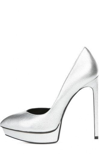 Женские серебряные туфли Saint Laurent, сезон SS 2016, арт. 416523/C9200 купить…