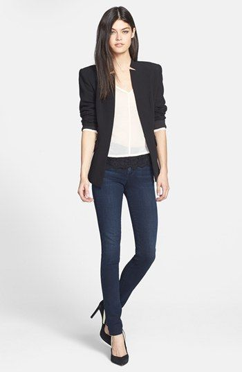 Like the look- shoulder pads may be too big...Trouvé Jacket, Robbi & Nikki Top & A Gold E Jeans | Nordstrom