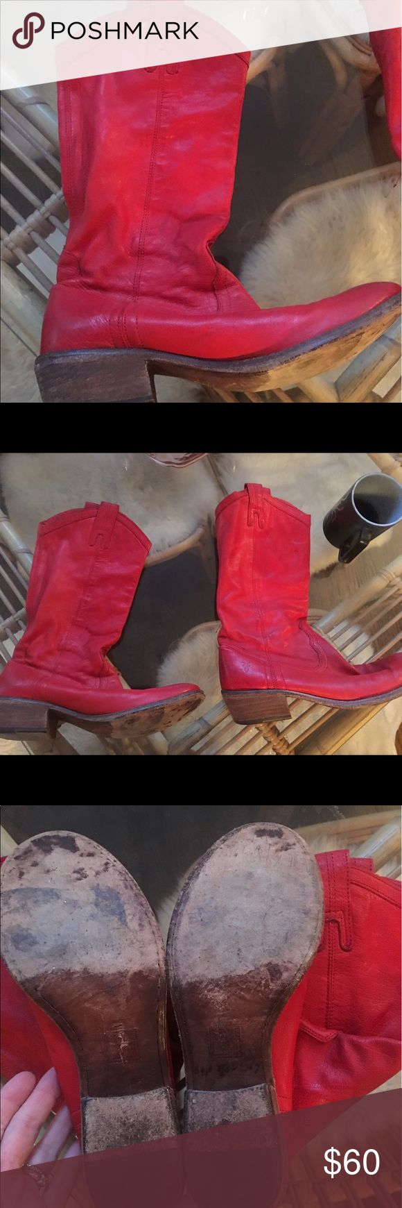 Frye red cowboy boots These are worn twice... still beautiful. Frye Shoes Heeled Boots