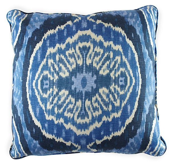 One Kings Lane - Dwell with Dignity - Blue Ikat Pillow