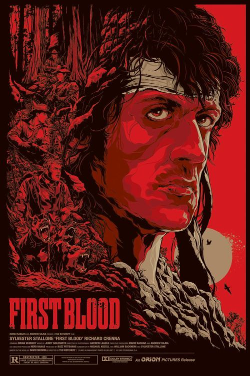 Ken Taylor ilustrações poster cartaz filmes silkscreen First Blood (Rambo - Programado Para Matar)