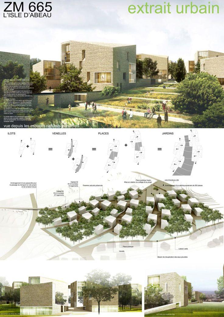 L'implantation sur le site de 400 logements organisés en petits collectifs préserve 50% du terrain naturel : une matrice pour une « ville nature ». Le plan masse vise à répartir de manière équilibrée espaces bâtis et espaces naturels. Quatre îlots d'h...