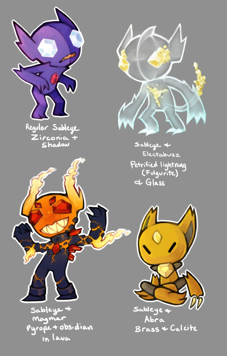I started this a little bit ago but they're taking a bit long so here's the first 4 of possibly 12 variations of sableye!