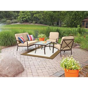 Attractive 4 Piece Tan Patio Furniture Set With Cushions