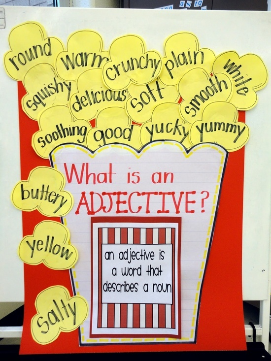"great idea for teaching adjectives - an adjective is a word that makes a noun ""pop"" with description."