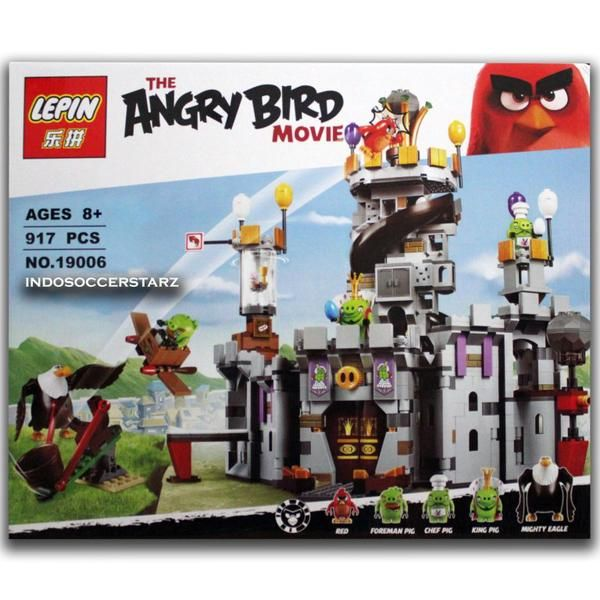 LEGO LEPIN 19006 Angry Birds King Pig's Castle :  - Sudah termasuk 5 Minifigure / Karakter Angry Birds : Red, Foreman Pig, Chef Pig, King Pig & Mighty Eagle - Termasuk Castle Wall dan Castle Tower - Castle Wall mempunyai Tinggi 22 cm, Lebar 30 cm, Panjang 20 cm - Castle Tower mempunyai Tinggi 32 cm, Lebar 10 cm, panjang 7 cm - Dimensi Kemasan Produk : 53 cm x 7 cm x 43 cm ( P x L x T ) - Di lengkapi Buku Panduan Perakitan yang detail & mudah di mengerti - Bahan berkualitas super, rap...