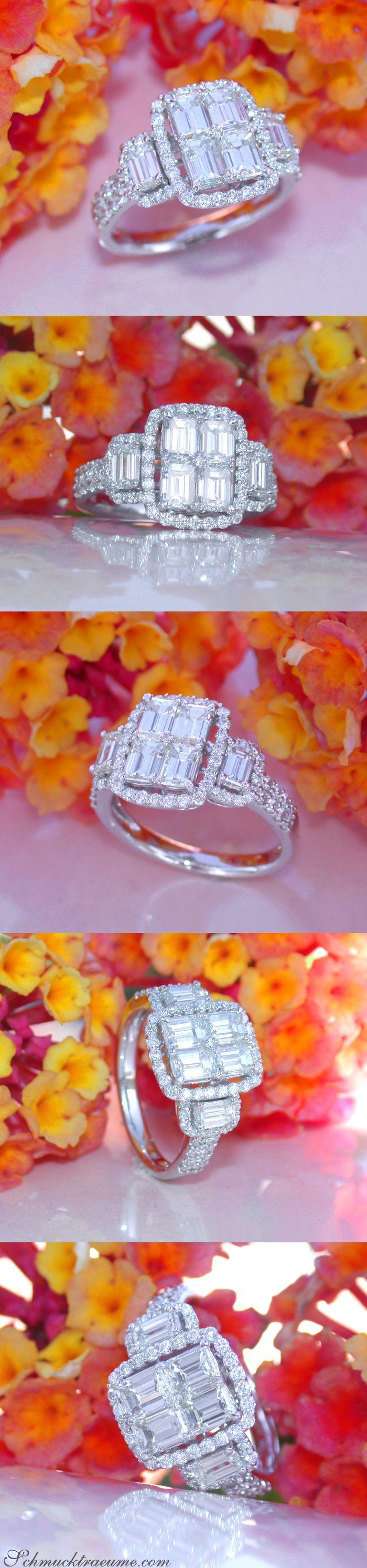 High-end Emerald Cut Diamond Ring | Luxuriöser Brillant Ring mit Diamanten im Smaragdschliff | 2,29 ct. G VS/VVS | WG 18k | Visit: schmucktraeume.com | Like:https://www.facebook.com/Noble-Juwelen-150871984924926/