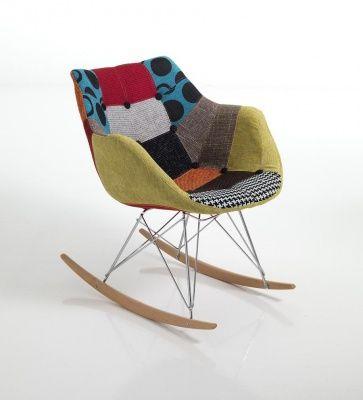 Sedia Poltrona a Dondolo Moderna patchwork tessuto