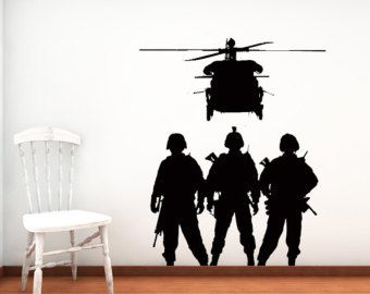 Navy, soldiers, Memorial Day, veterans, active duty, decal, sticker, vinyl, wall, home, kids bedroom décor, artwork.  Troops have sizing options, but if you need a different size, please message us for a bid. Each decal comes with easy to understand instructions. We also love special orders, if you have an image in mind or just want one of ours tweeked, let us know and we will do our best to accommodate you.