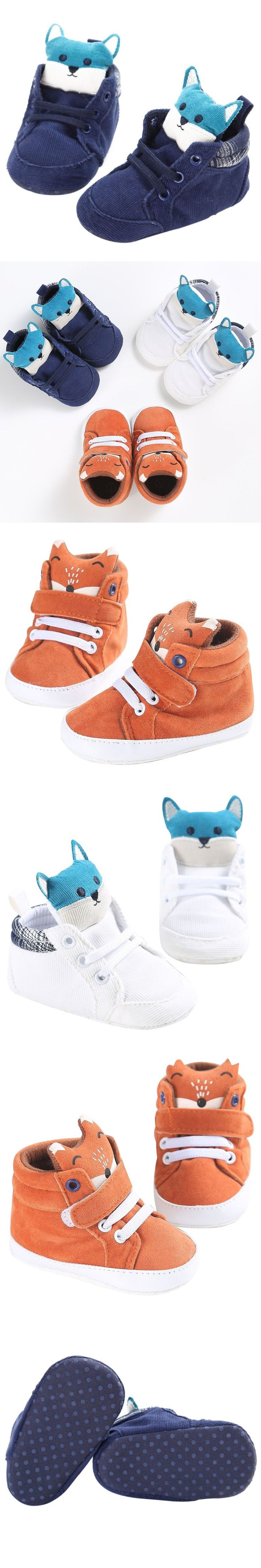 Winter baby boy girl baby shoes Cotton Cloth kid Fox head Lace first walker Canvas Sneaker anti-slip Soft Sole Boots