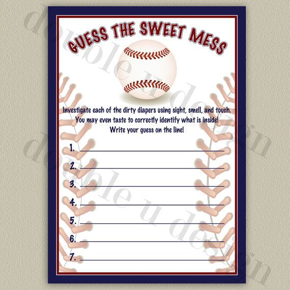 instant download baseball guess the sweet mess baby shower game