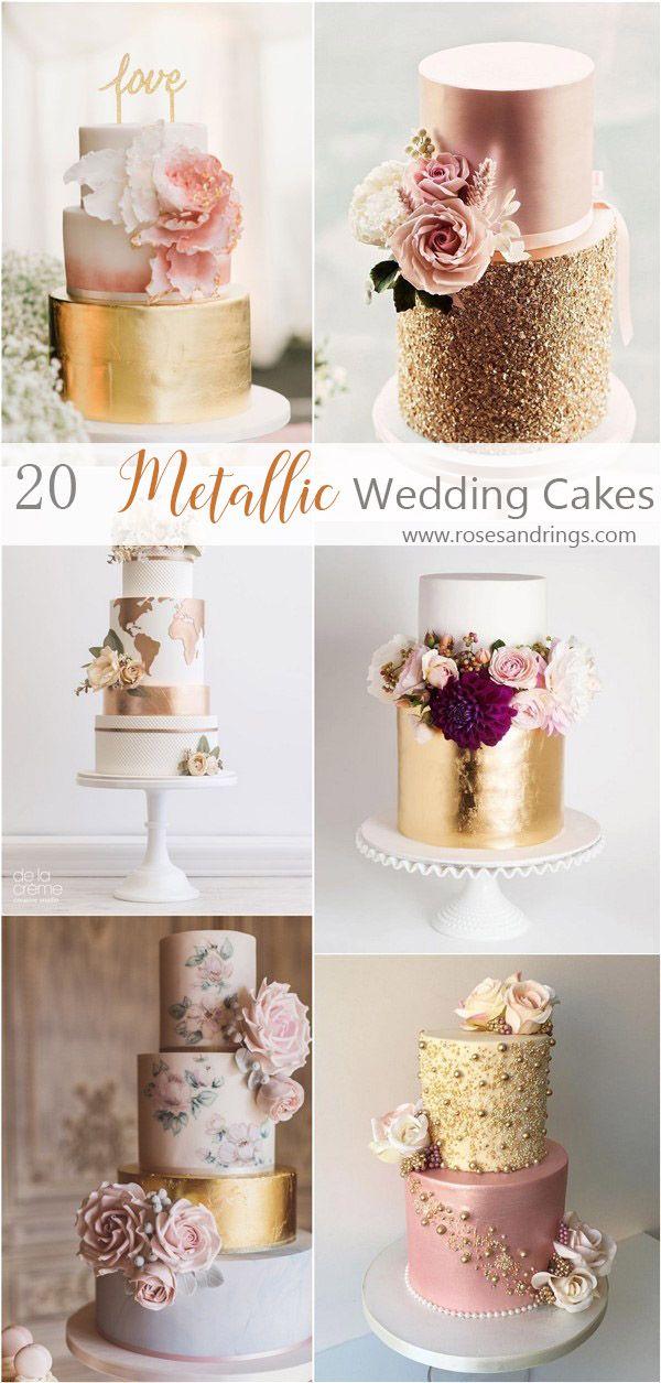 Metallic Gold Hochzeitstorte Ideen #Hochzeiten #Kuchen #Hochzeitstorte #Rosen und Ringe …   – Beautiful Wedding ❤️