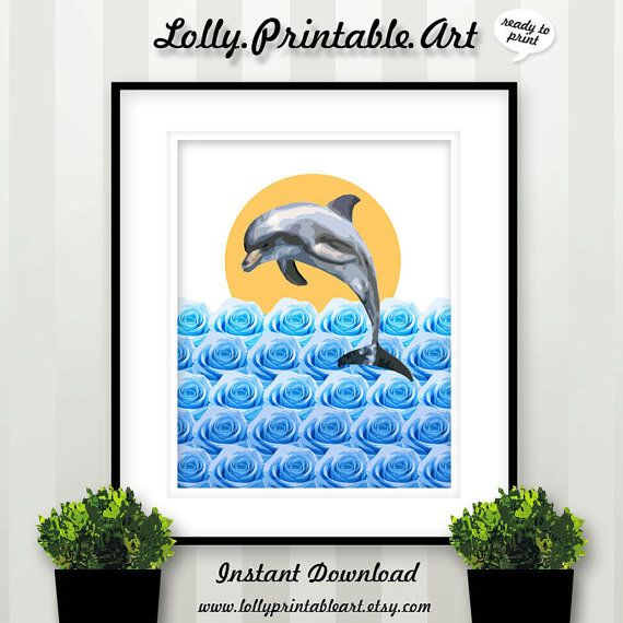 Unique Printable Art (Dolphin Blue Rose Ocean) by LollyPrintableArt