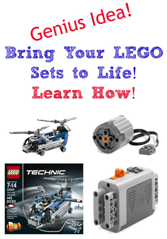Genius Idea! Bring Your LEGO Sets to Life! Learn How to adapt LEGO Technic set to fit a motor and battery box. The Twin Rotor Helicopter #42020.