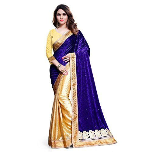 Kavvya Fashion Women's Beige And Blue Velvet And Jacqaurd Embroidery Designer Saree Check more at http://www.indian-shopping.in/product/kavvya-fashion-womens-beige-and-blue-velvet-and-jacqaurd-embroidery-designer-saree/