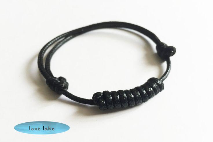 black bracelet-mens bracelet-wax cord-gift for him-cool girl-simple-bar-spiral-woven-braided by lonelake on Etsy