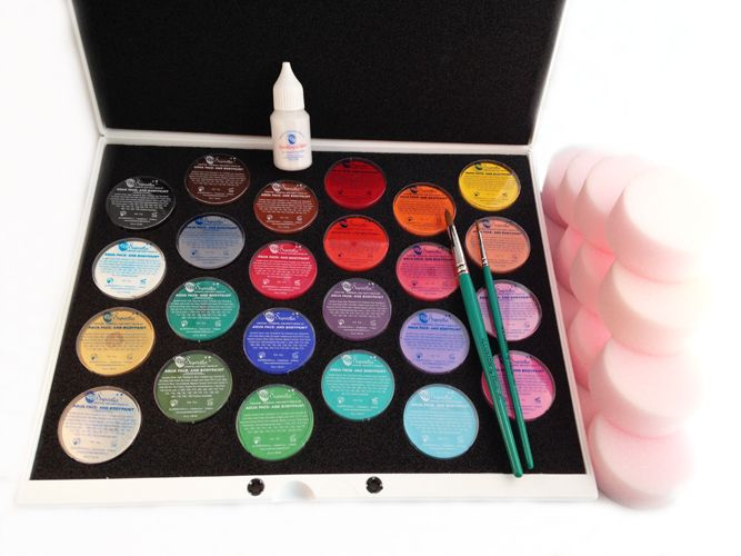 Professional Palette Face Painting Kit 16g.   This is a great kit for any professional face painter, the Superstar Palette holds 24 x 16g colours with a lid to keep all of your paints safe. The flat palette is easy and quick to pack up at the end of ...
