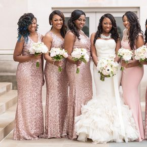 African American Weddings Brown Bride And Bridesmaids Wedding Bridesmaid