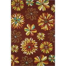 Flowers are in bloom!  Loloi Sonata Red Floral 5Ft x 7Ft Outdoor Washable Rug