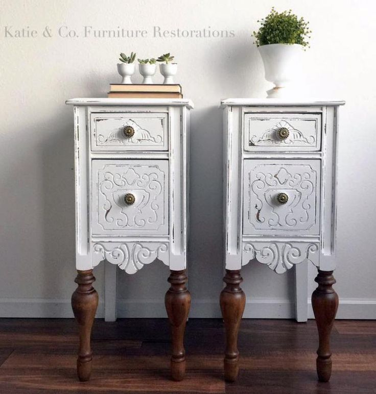 Snow White Upcycled Bedside Tables | General Finishes Design Center