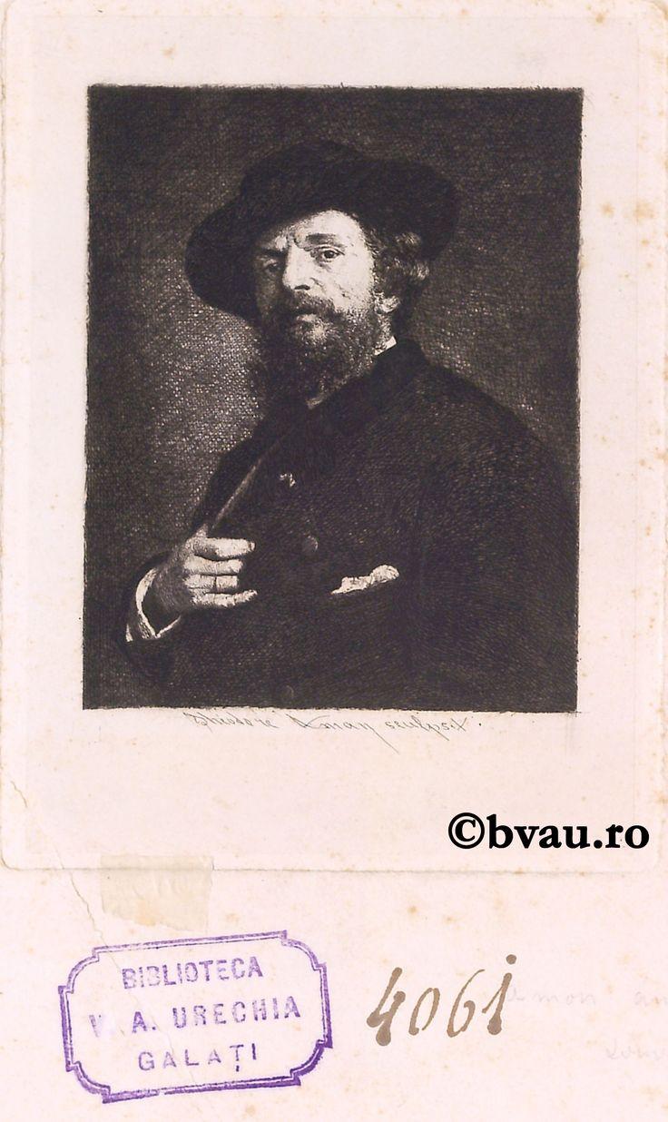 """Theodor Aman, Portretul artistului. Imagine din colecțiile Bibliotecii """"V.A. Urechia"""" Galați."""