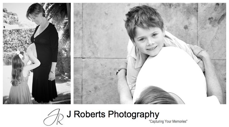 Older siblings kissing the pregnant belly - pregnancy portrait photography sydney