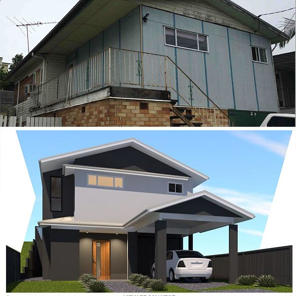 A pretty impressive before and after shot of a property in Gordon Park designed by Focus Architecture.