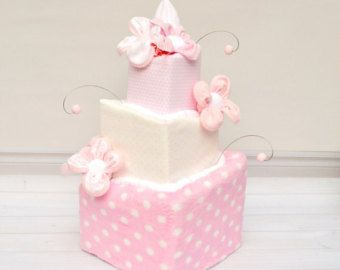 White and Pink Baby Shower, Pink Diaper Cake, Pink Baby Shower Centerpiece, Baby Girl Diaper Cake, Modern Cake, Girl Baby Shower Gift