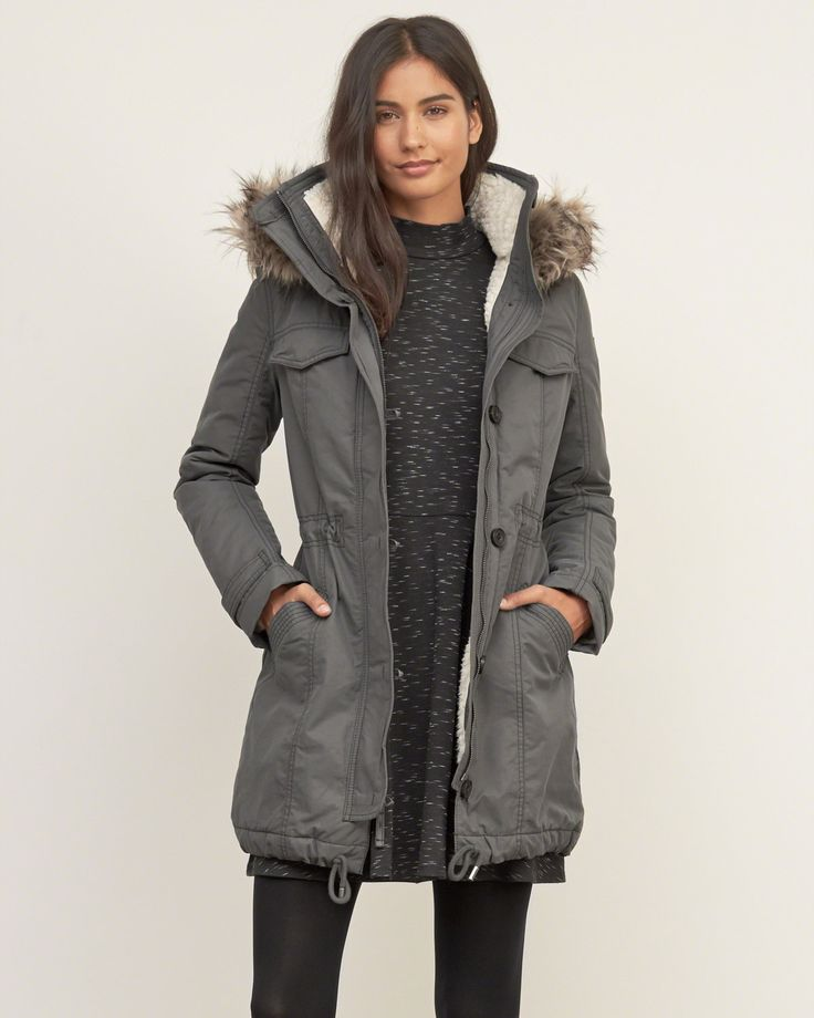 Womens A&F Sherpa Lined Military Parka | Military-inspired with sherpa lining throughout, made from water and wind resistant fabrication featuring fleece lined pockets, a cozy hood with removable faux fur, a button and zipper double closure, finished with a drawstring hem | Abercrombie.com
