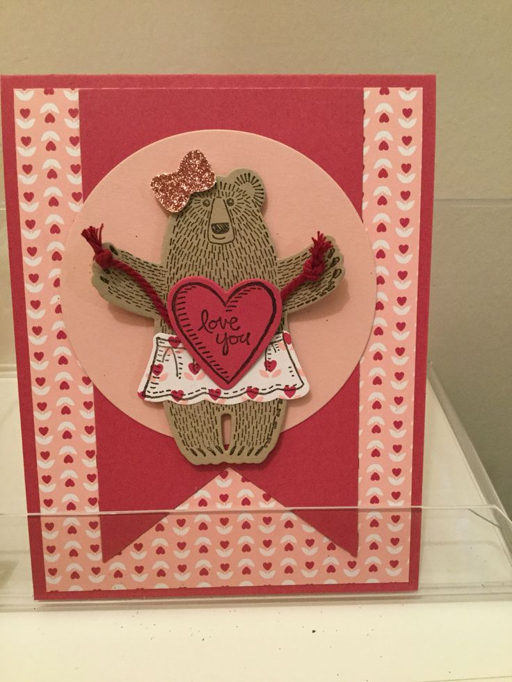 Bear Hugs stamp set and thinlits die & Love Blossoms DSP