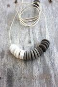Monochrome porcelain necklace by Septembre Ceramics