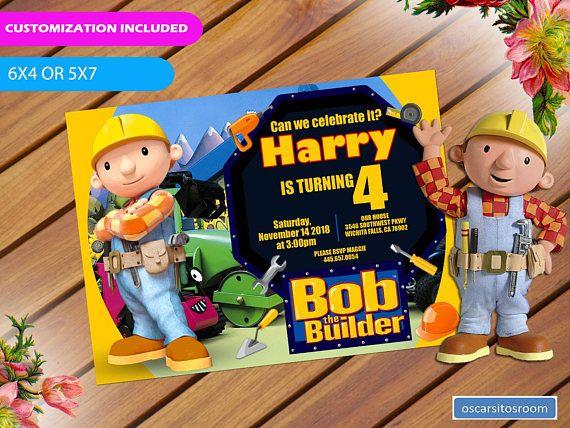 Bob The Builder Birthday Invitation Birthday Party Invitations Printable Kids Birthday Party Invitations Printable Birthday Invitations