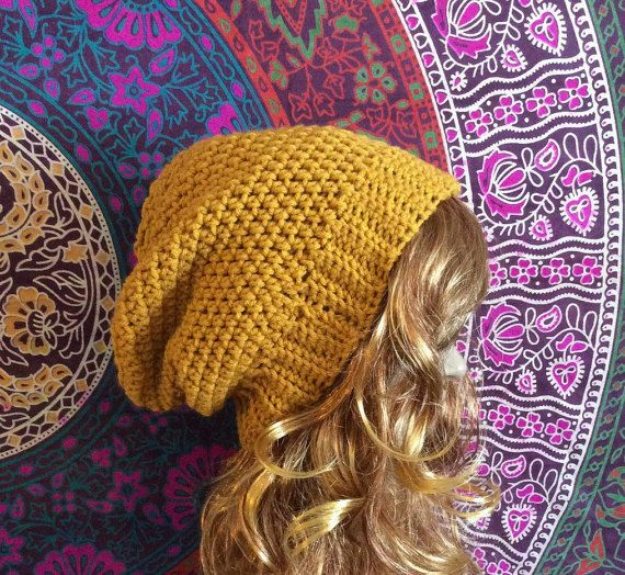 Slouch Beanie, Slouch Hat, Mustard Slouch Beanie, Crochet Beanie, Slouchy Beanie, Womens Hat, Crochet Slouch Beanie, Mustard Beanie