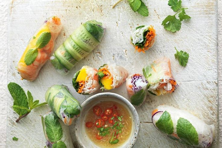These rice paper rolls look tricky, but once you've made a couple you'll have the hang of it. Omit the prawns for a vegan option, says Jamie.