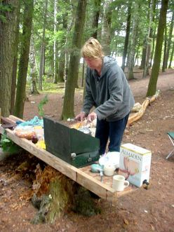 Camping recipes plus lists of food related items to take camping
