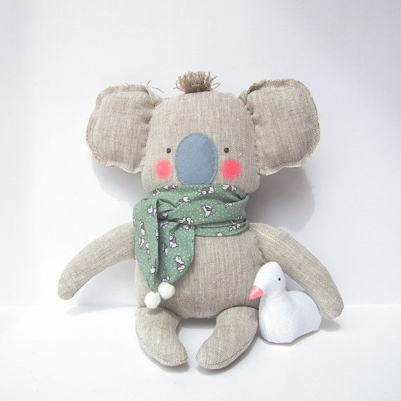 Koala toy, plush baby toy Koala, linen toy, cuddly cute baby koala. Neutral natural linen color. Baby shower, birthday very cute gift
