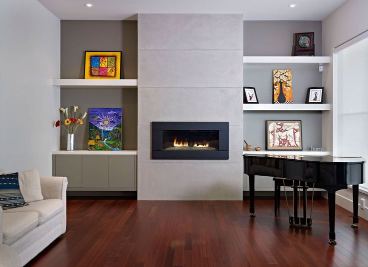 Architecture Minimalist Modern Living Room With Glass Fireplace And White Floating Shelves Also Beige Comfy Sofa Classic Piano Stained Wooden