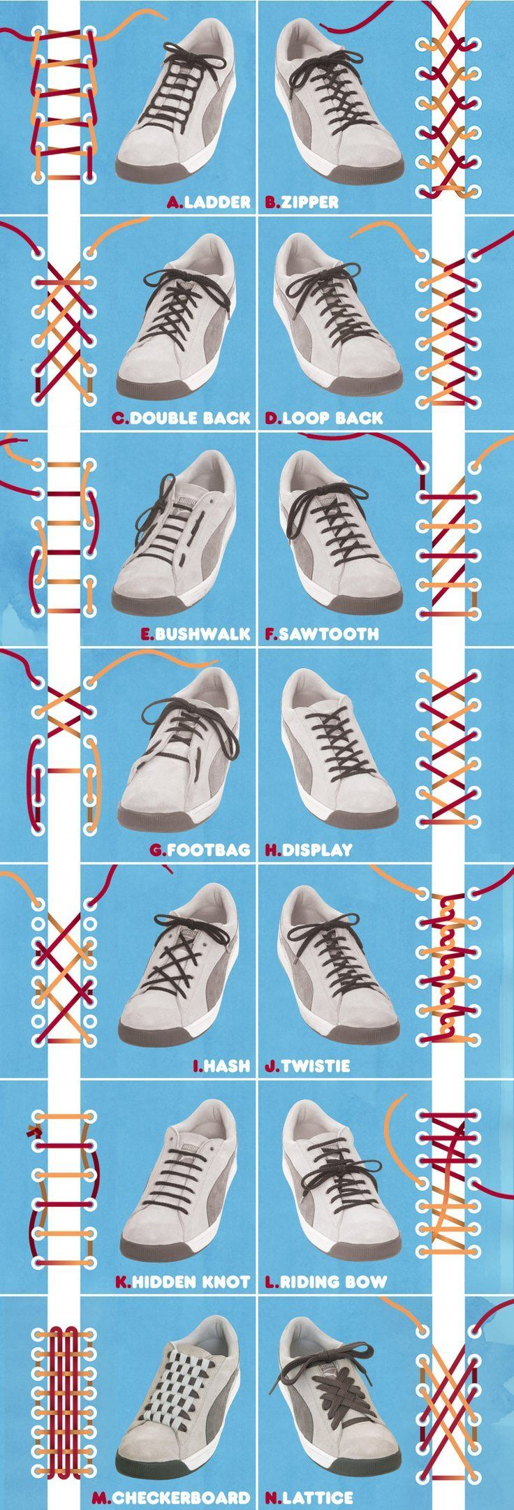 This graph helps you to know different ways to tie a shoe laces.