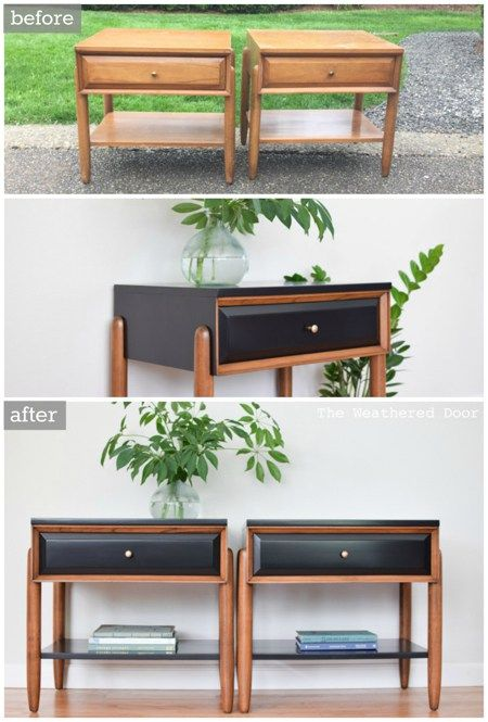 Before & After Satin Black and Walnut Mid Century Modern LA Period Nightstands