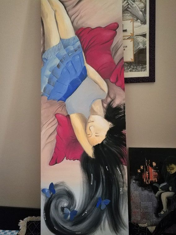 Tele 3D - Benvenuti su ilariabicchi! Sweet dreams farfalle strass ragazza orientale che dorme , olio su tela