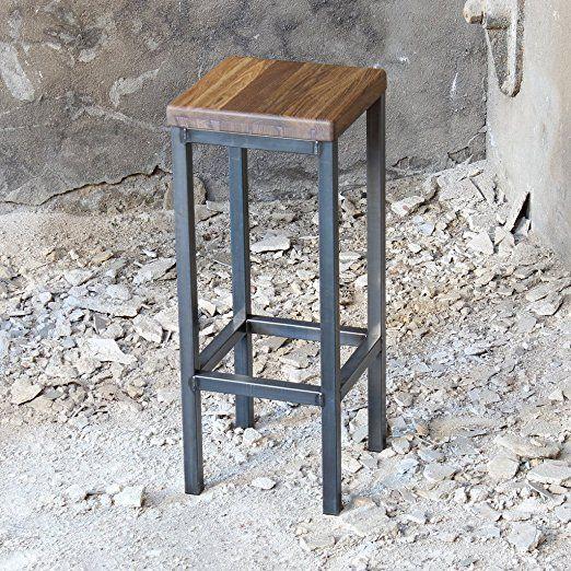 Ein Original-BestLoft® Barhocker im Industriedesign Stahl Holz Eiche massiv 78cm (Hell, 78cm): Amazon.de: Küche & Haushalt