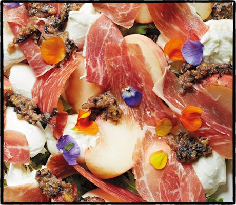 JAMÓN IBÉRICO  Savour by Peter Gordon (£25, Jacqui Small), which is bursting with salad concoctions involving some very creative combinations. This recipe, for jamón ibérico, peaches, mozzarella and purple pesto is easy to put together and is basically a sweet-savoury-creamy taste sensation. Woop. Swap in normal basil leaves and Italian prosciutto if you can't find the fancy stuff.